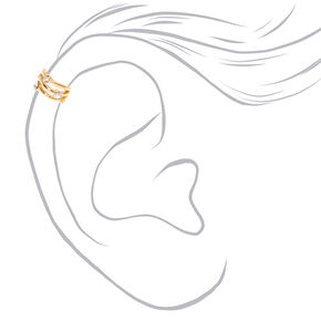 Gold Tone Triple Bar Iridescent Faux Crystal Ear Cuff,