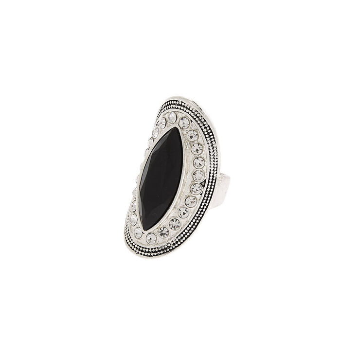 Silver Embellished Oval Ring - Black,