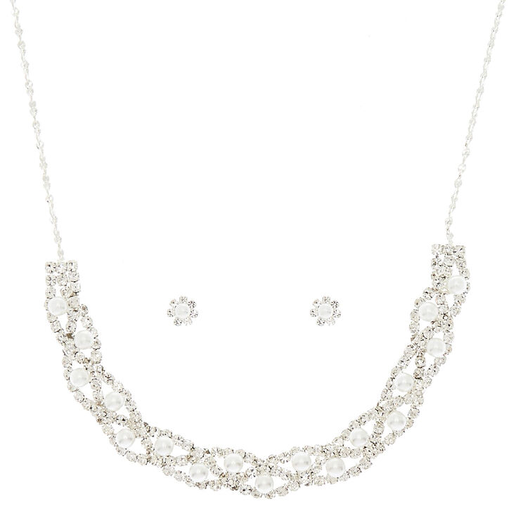 Silver Pearl Woven Jewelry Set - 2 Pack,