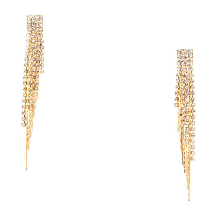Crystal & Gold Fringe Drop Earrings,