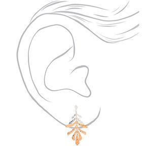 """Mixed Metal 2"""" Textured Leaf Drop Earrings,"""