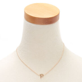Gold Stone Initial Pendant Necklace - P,