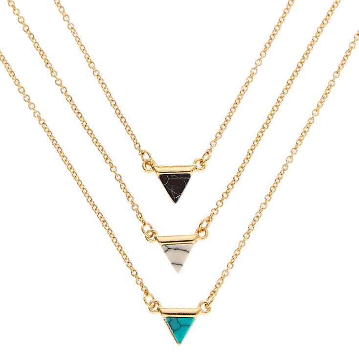 3 Pack Gold-Tone Marble Triangle Necklaces,