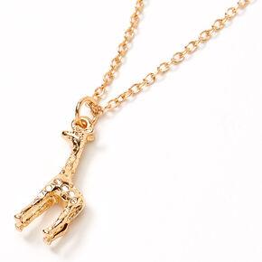Gold 3D Giraffe Pendant Necklace,