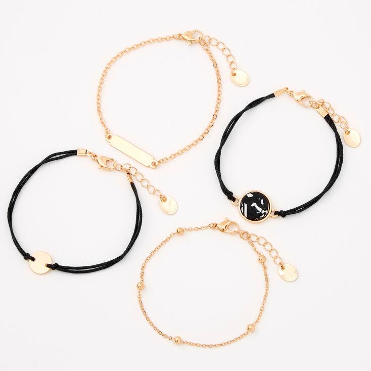 Gold Marble Disc Chain Bracelets - Black, 4Pack,