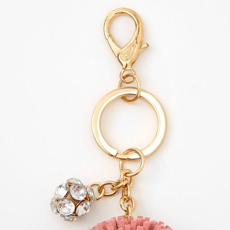Suede Pom Keychain - Pink,