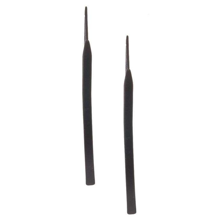 Black Tone Curved Bar Drop Earrings,
