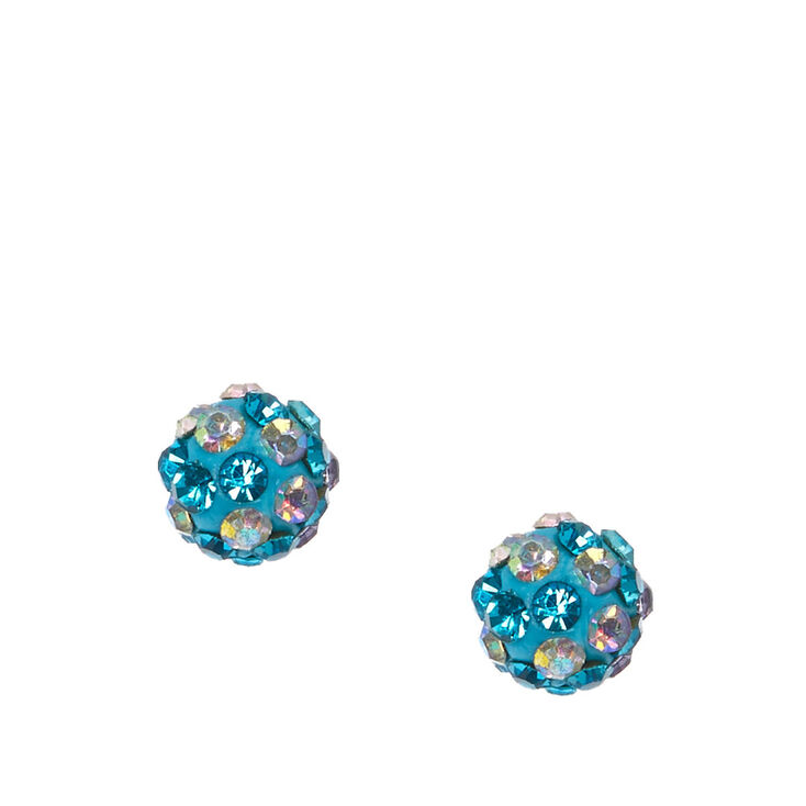 Two Tone Blue Fireball Stud Earrings,