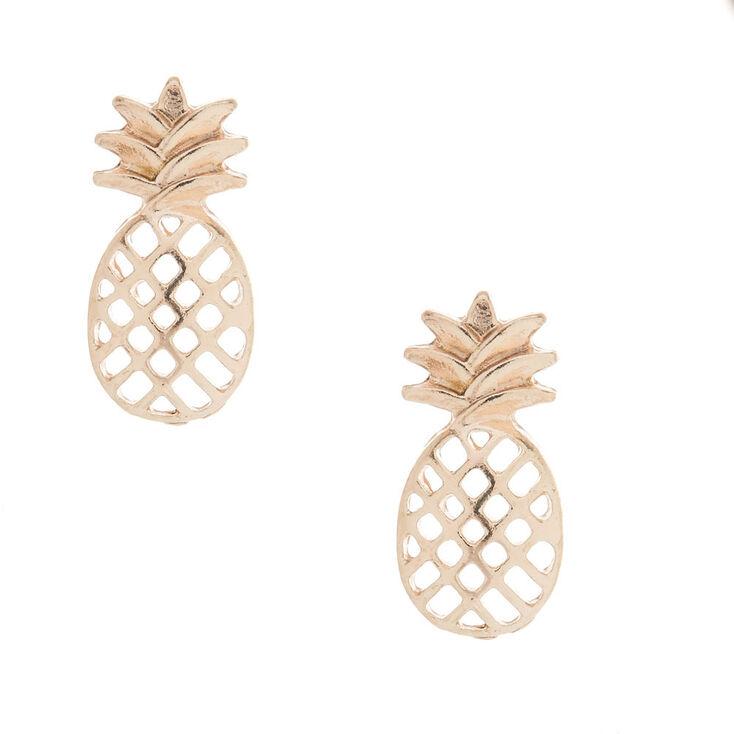 Rose Gold-Tone Pineapple Stud Earrings,