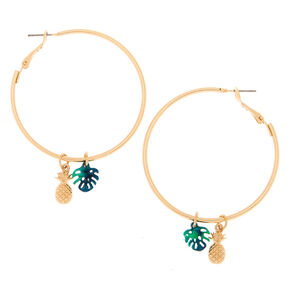 Gold 40MM Pineapple Leaf Hoop Earrings - Green,