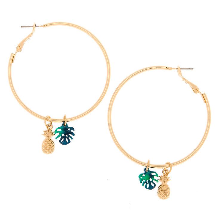 Gold 40MM Pineapple Leaf Hoop Earrings - Green,