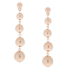 "Rose Gold 3"" Ball Drop Earrings,"