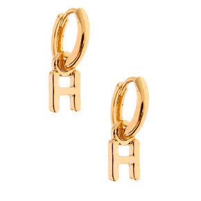 Gold 10MM Initial Huggie Hoop Earrings - H,