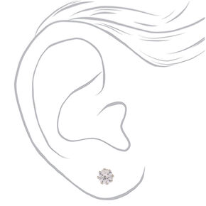 Silver Cubic Zirconia 8MM Round Magnetic Stud Earrings,