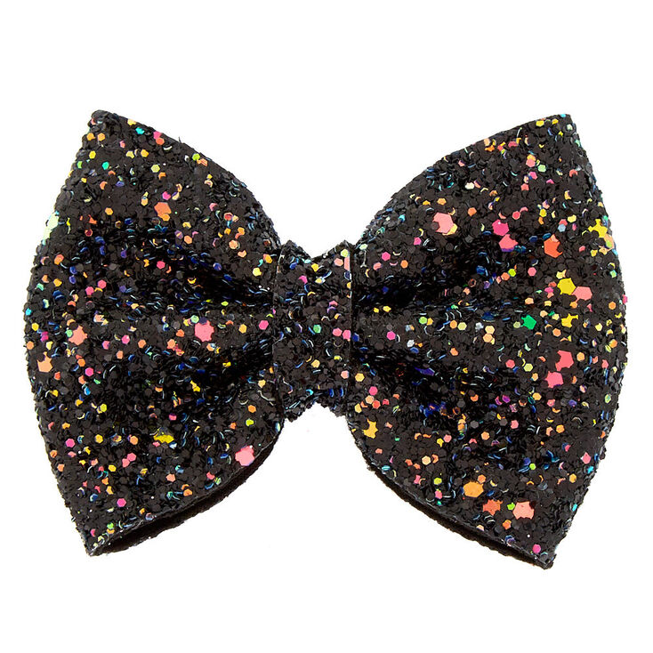 Cake Glitter Mini Hair Bow Clip - Black,