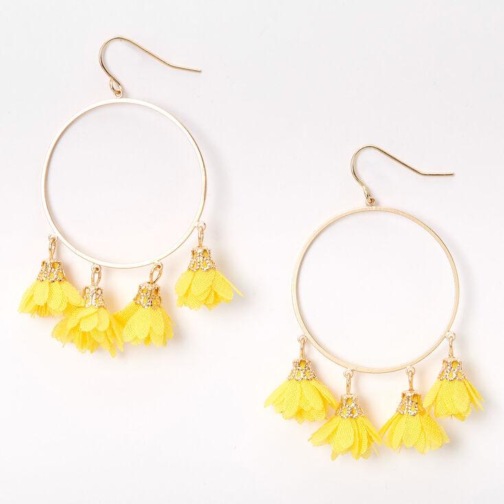 """Gold 2"""" Circle Chiffon Flower Drop Earrings - Yellow,"""
