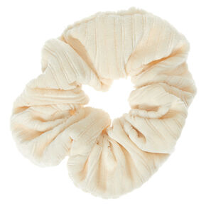Ribbed Velvet Hair Scrunchie - Ivory,