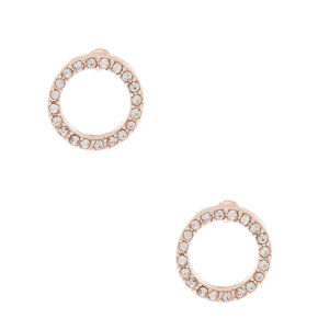 Rose Gold Crystal Circle Stud Earrings,