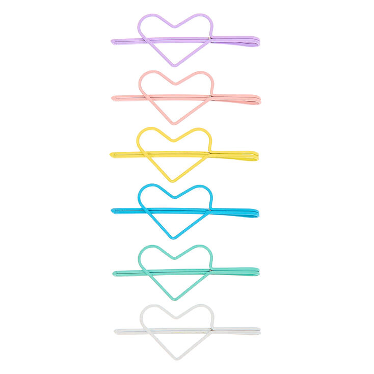 Pastel Heart Hair Pins - 6 Pack,