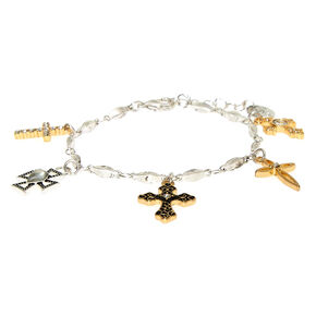Mixed Metal Cross Charm Bracelet,