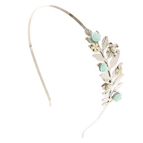 Silver Leaf & Mint Carve Rose Headband,