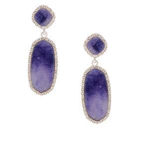 "Silver 2"" Ombre Stone Embellished Drop Earrings - Blue,"