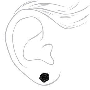 Sterling Silver Carved Rose Stud Earrings - Black,