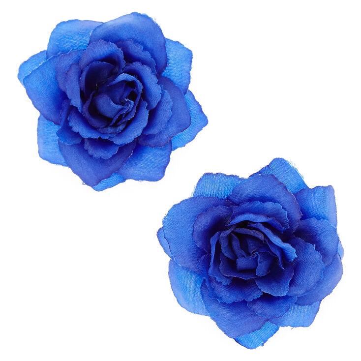Royal Blue Rose Hair Clips,