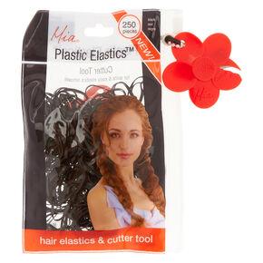 Black Plastic Elastics & Cutter Tool,
