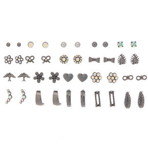 Hematite Party Mix Stud Earrings - 20 Pack,