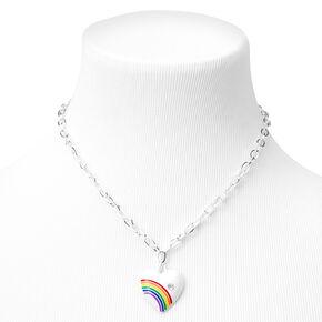 Silver Rainbow Heart Pendant Chain Necklace - White,