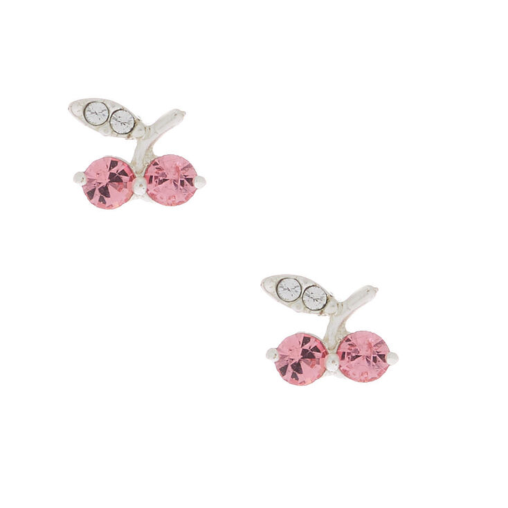 Sterling Silver Cherry Stud Earrings,