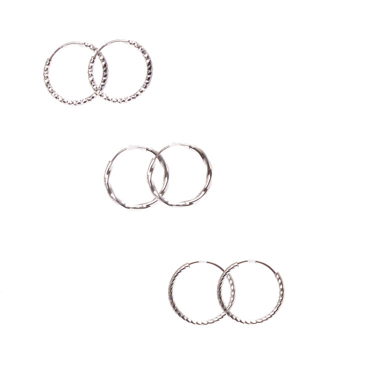 Mini Textured Silver Hoop Earrings,
