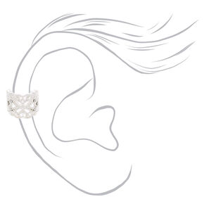 Silver Crystal Floral Lace Ear Cuff,