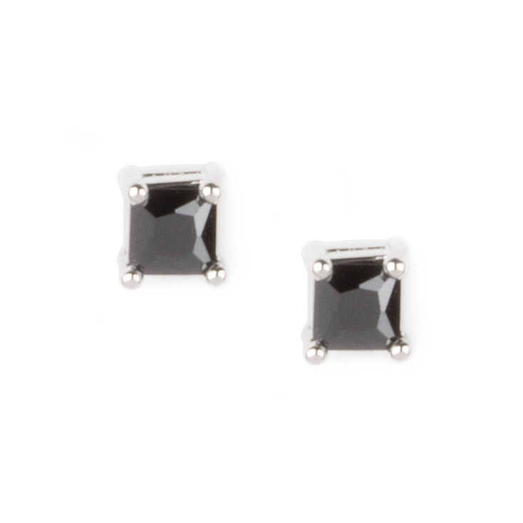 3MM Black Cubic Zirconia Four Prong Set Square Stud Earrings,
