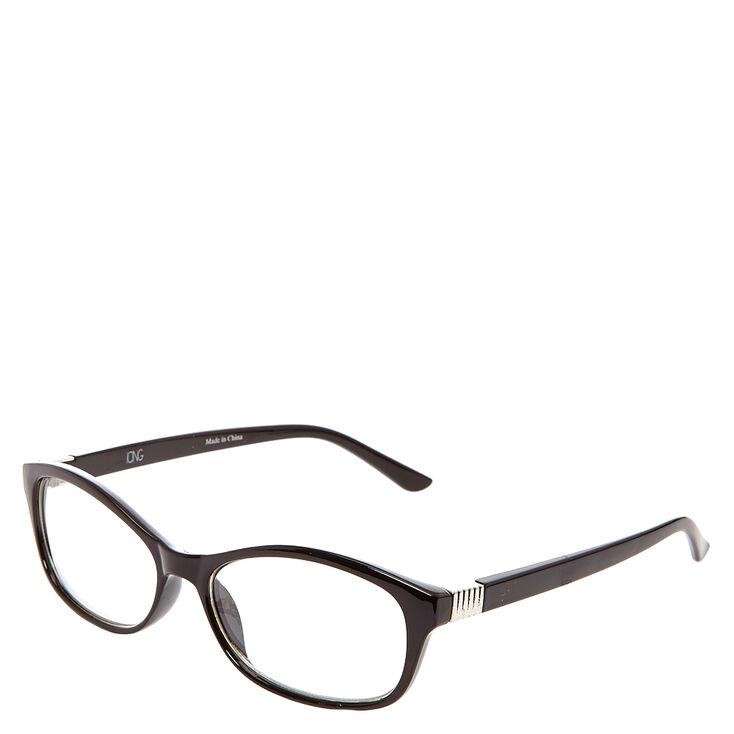 Black Rectangle & Ribbed Silver Hinge Eyewear,