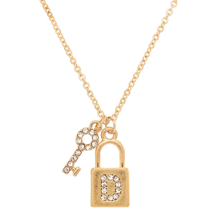 Gold Lock & Key Initial Pendant Necklace - D,
