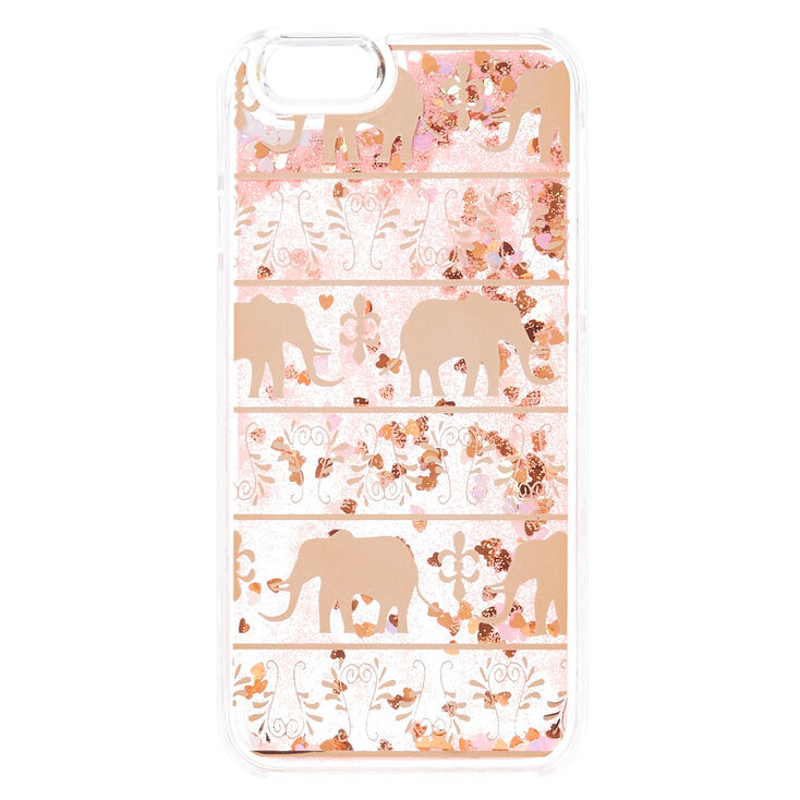Pretty Gold Elephant Liquid Fill Phone Case - Fits iPhone 6/6S,
