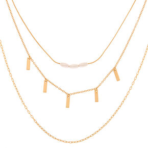 Gold Pearl Chain Multi Strand Necklace,