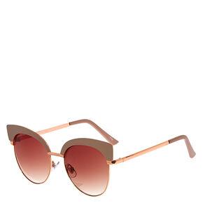 Rose Gold Gray Cat Eye Sunglasses,