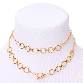 Gold Double Chain Link Choker Necklace,