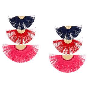 """4.5"""" Tiered Crescent Tassel Drop Earrings,"""