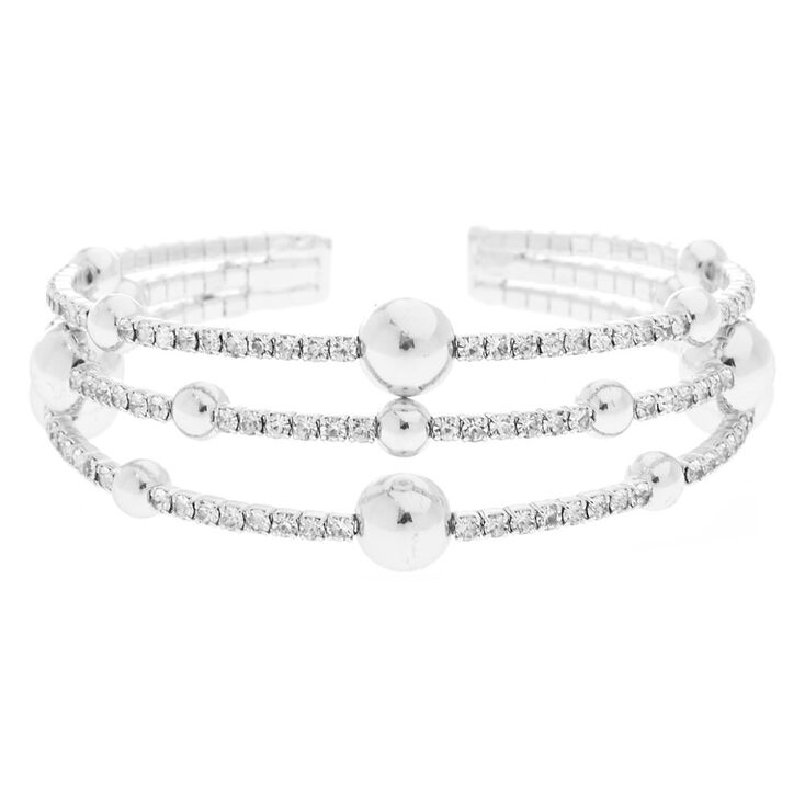 Silver Rhinestone Orbit Cuff Bracelet,