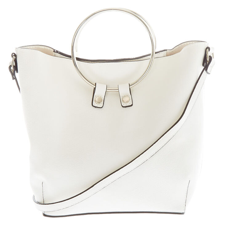 White Mini Faux Leather Ring Detail Tote Bag,