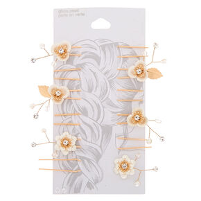 Gold Fancy Floral Hair Pins - 6 Pack,