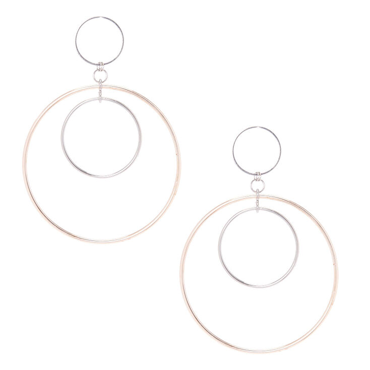 Rose Gold & Silver Triple Hoop Drop Earrings,