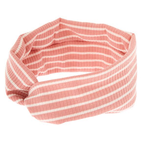 Rib Knit Stripe Headwrap - Blush,