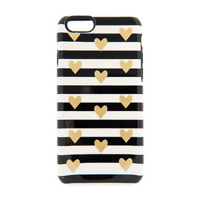 Fancy Striped Black & White Hearts Phone Case - Fits iPhone 6/6S Plus,