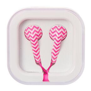 Pink & White Chevron Earbuds,
