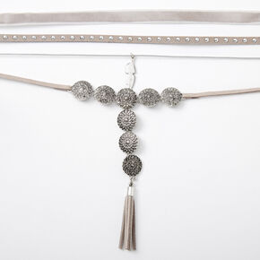 Silver Studded Medallion Choker Necklaces - Gray, 4 Pack,